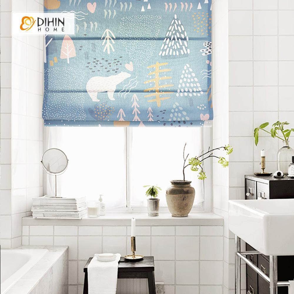 "DIHINHOME Home Textile Roman Blind DIHIN HOME Cartoon Bear Printed Roman Shades ,Easy Install Washable Curtains ,Customized Window Curtain Drape, 24""W X 64""H"