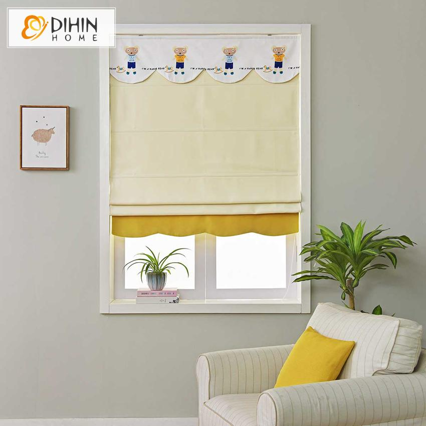 "DIHINHOME Home Textile Roman Blind DIHIN HOME Cartoon Beige Bear Printed Roman Shades ,Easy Install Washable Curtains ,Customized Window Curtain Drape, 24""W X 64""H"