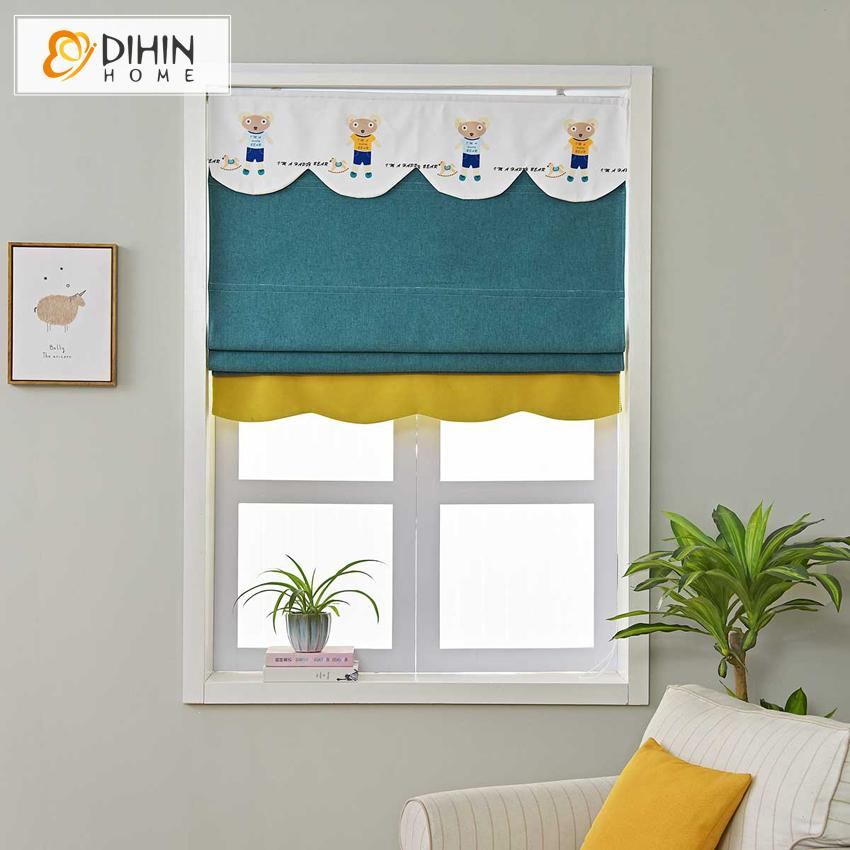"DIHINHOME Home Textile Roman Blind DIHIN HOME Cartoon Blue Bear Printed Roman Shades ,Easy Install Washable Curtains ,Customized Window Curtain Drape, 24""W X 64""H"