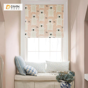 "DIHINHOME Home Textile Roman Blind DIHIN HOME Cartoon Cute Bears Printed Roman Shades ,Easy Install Washable Curtains ,Customized Window Curtain Drape, 24""W X 64""H"