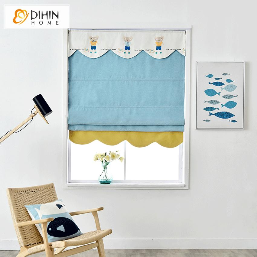 "DIHINHOME Home Textile Roman Blind DIHIN HOME Cartoon Light Blue Bear Printed Roman Shades ,Easy Install Washable Curtains ,Customized Window Curtain Drape, 24""W X 64""H"