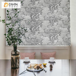 "DIHINHOME Home Textile Roman Blind DIHIN HOME Chinese Classical Printed Roman Shades ,Easy Install Washable Curtains ,Customized Window Curtain Drape, 24""W X 64""H"