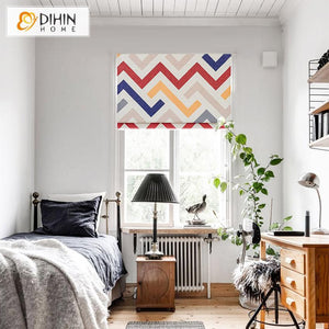 "DIHINHOME Home Textile Roman Blind DIHIN HOME Colorful Geometric Waves Printed Roman Shades ,Easy Install Washable Curtains ,Customized Window Curtain Drape, 24""W X 64""H"