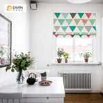 "DIHINHOME Home Textile Roman Blind DIHIN HOME Colorful Triangle Printed Roman Shades ,Easy Install Washable Curtains ,Customized Window Curtain Drape, 24""W X 64""H"