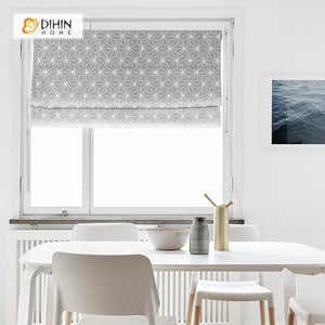 "DIHINHOME Home Textile Roman Blind DIHIN HOME Complex Lines Printed Roman Shades ,Easy Install Washable Curtains ,Customized Window Curtain Drape, 24""W X 64""H"