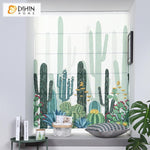"DIHINHOME Home Textile Roman Blind DIHIN HOME Desert Cactus Printed Roman Shades ,Easy Install Washable Curtains ,Customized Window Curtain Drape, 24""W X 64""H"