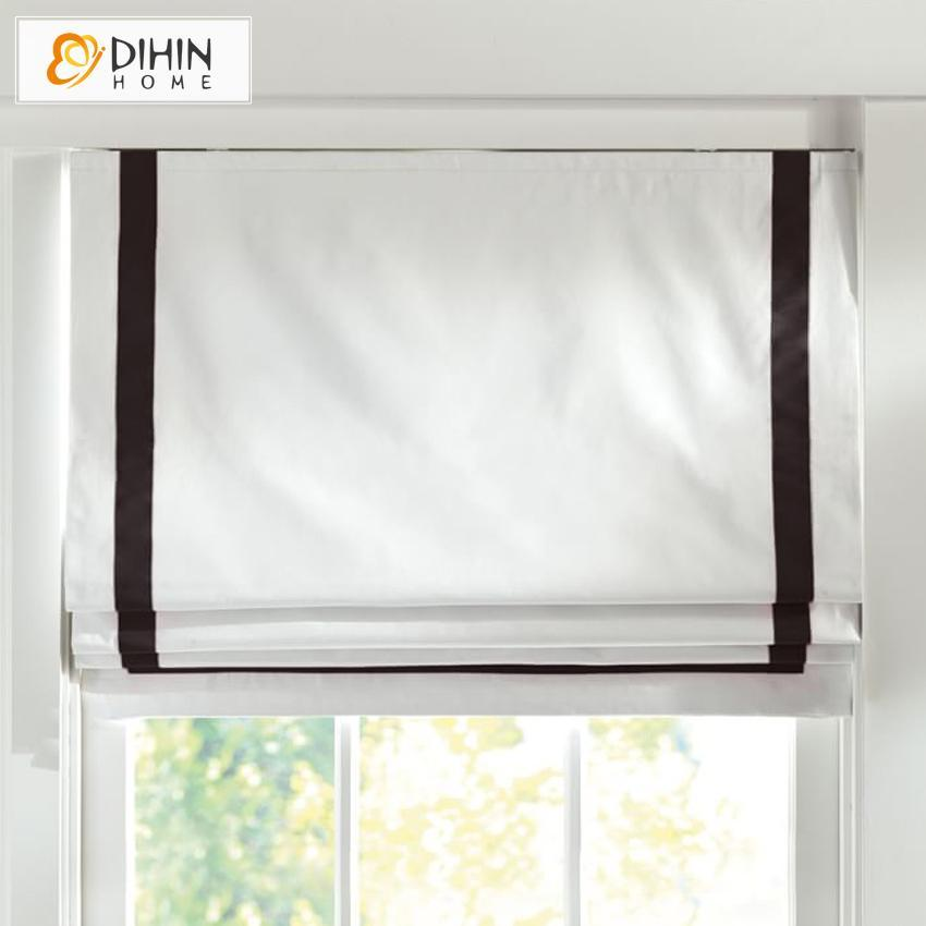 "DIHIN HOME Exquisite Black Edge Printed Roman Shades ,Easy Install Washable Curtains ,Customized Window Curtain Drape, 24""W X 64"""