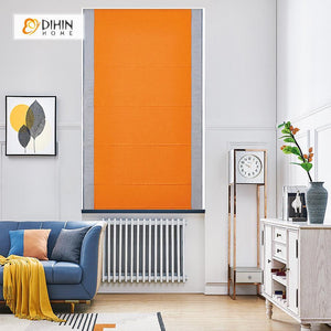 "DIHINHOME Home Textile Roman Blind DIHIN HOME Exquisite Orange Printed Roman Shades ,Easy Install Washable Curtains ,Customized Window Curtain Drape, 24""W X 64""H"