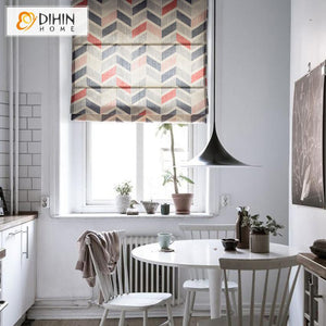 "DIHINHOME Home Textile Roman Blind DIHIN HOME Fashion Geometry Printed Roman Shades ,Easy Install Washable Curtains ,Customized Window Curtain Drape, 24""W X 64""H"