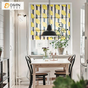"DIHINHOME Home Textile Roman Blind DIHIN HOME Fashion Lemon Tree Printed Roman Shades ,Easy Install Washable Curtains ,Customized Window Curtain Drape, 24""W X 64""H"