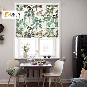 "DIHINHOME Home Textile Roman Blind DIHIN HOME Forest Leopard Printed Roman Shades ,Easy Install Washable Curtains ,Customized Window Curtain Drape, 24""W X 64""H"