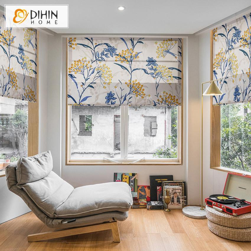 "DIHINHOME Home Textile Roman Blind DIHIN HOME Garden Flowers Printed Roman Shades ,Easy Install Washable Curtains ,Customized Window Curtain Drape, 24""W X 64""H"