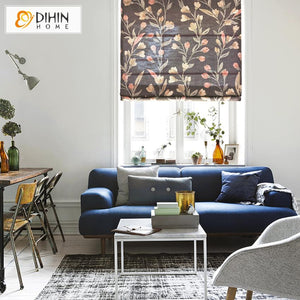 "DIHINHOME Home Textile Roman Blind DIHIN HOME Garden Retro Flower Printed Roman Shades ,Easy Install Washable Curtains ,Customized Window Curtain Drape, 24""W X 64""H"