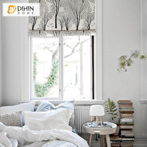 "DIHINHOME Home Textile Roman Blind DIHIN HOME Garden Trees Printed Roman Shades ,Easy Install Washable Curtains ,Customized Window Curtain Drape, 24""W X 64""H"
