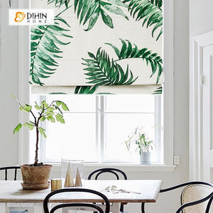 "DIHINHOME Home Textile Roman Blind DIHIN HOME Green and White Plants Printed Roman Shades ,Easy Install Washable Curtains ,Customized Window Curtain Drape, 24""W X 64""H"