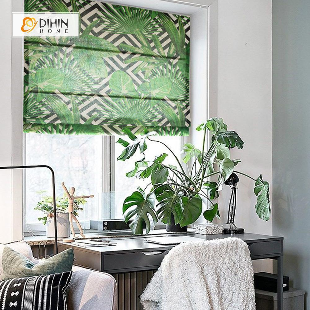 "DIHINHOME Home Textile Roman Blind DIHIN HOME Green Leaves Printed Roman Shades ,Easy Install Washable Curtains ,Customized Window Curtain Drape, 24""W X 64""H"