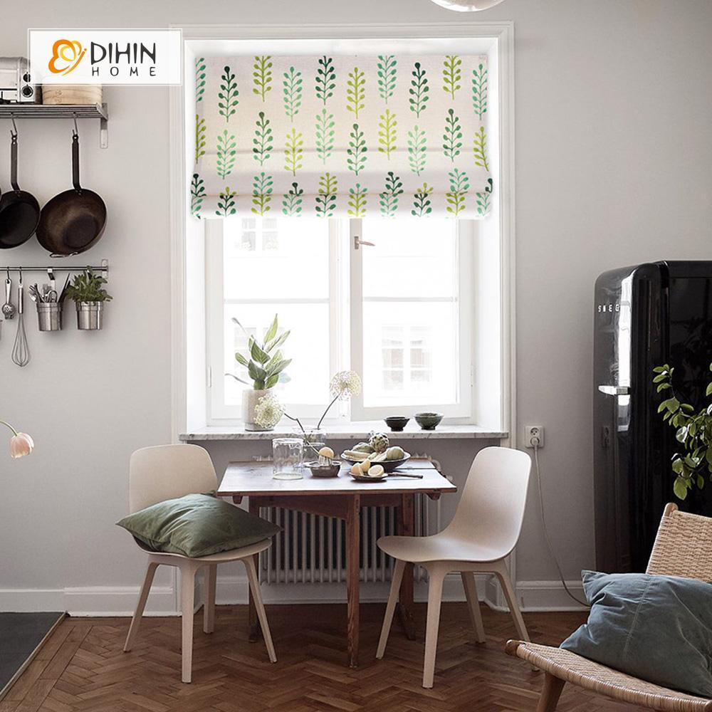 "DIHINHOME Home Textile Roman Blind DIHIN HOME Green Plants Printed Roman Shades ,Easy Install Washable Curtains ,Customized Window Curtain Drape, 24""W X 64""H"