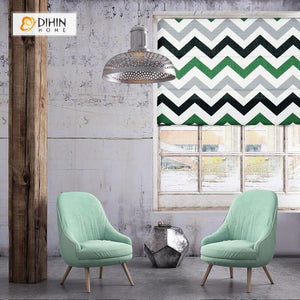"DIHINHOME Home Textile Roman Blind DIHIN HOME Green Stripes Printed Roman Shades ,Easy Install Washable Curtains ,Customized Window Curtain Drape, 24""W X 64""H"