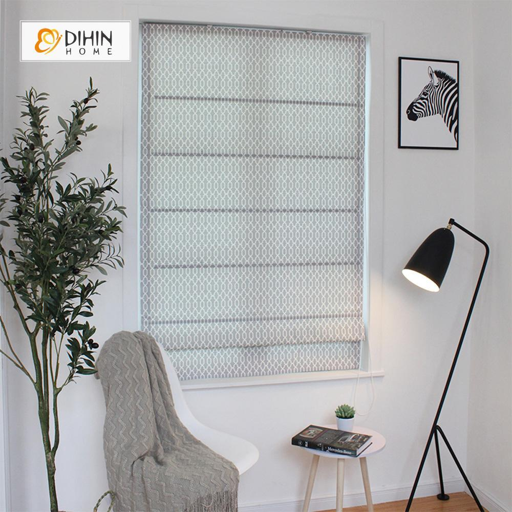 "DIHINHOME Home Textile Roman Blind DIHIN HOME Grey Lines Printed Roman Shades ,Easy Install Washable Curtains ,Customized Window Curtain Drape, 24""W X 64""H"