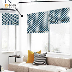 "DIHINHOME Home Textile Roman Blind DIHIN HOME Intensive White Patterns Printed Roman Shades ,Easy Install Washable Curtains ,Customized Window Curtain Drape, 24""W X 64""H"