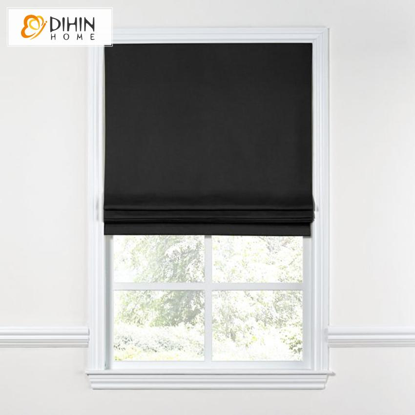 "DIHINHOME Home Textile Roman Blind DIHIN HOME Modern Black Color Roman Shades ,Easy Install Washable Curtains ,Customized Window Curtain Drape, 24""W X 64""H"
