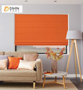 "DIHIN HOME Modern Orange Color Roman Shades ,Easy Install Washable Curtains ,Customized Window Curtain Drape, 24""W X 64""H"