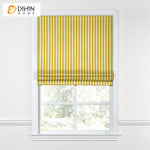 "DIHINHOME Home Textile Roman Blind DIHIN HOME Modern Small Yellow Stripes Roman Shades ,Easy Install Washable Curtains ,Customized Window Curtain Drape, 24""W X 64""H"