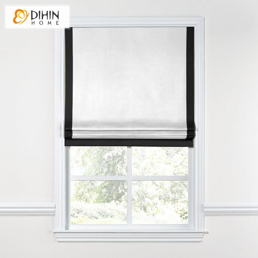 "DIHINHOME Home Textile Roman Blind DIHIN HOME Modern White Color With Black Band Roman Shades ,Easy Install Washable Curtains ,Customized Window Curtain Drape, 24""W X 64""H"