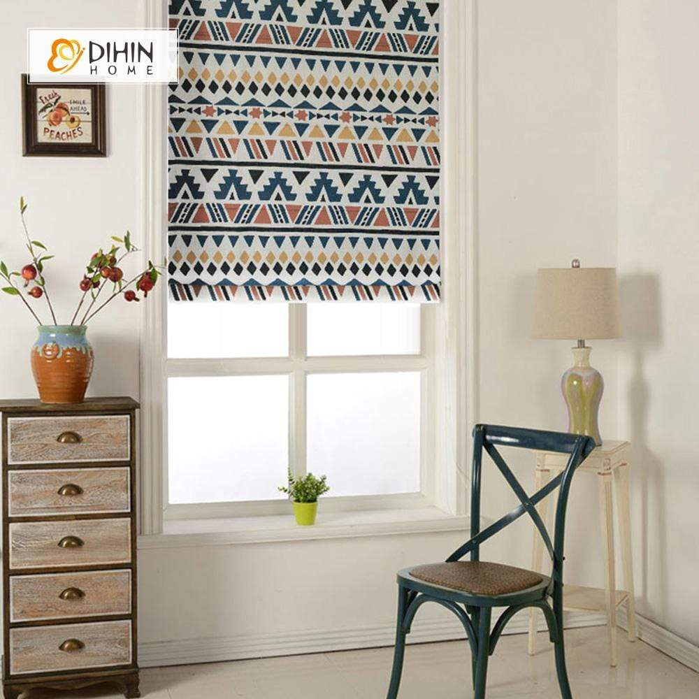 "DIHINHOME Home Textile Roman Blind DIHIN HOME Neat Pattern Printed Roman Shades ,Easy Install Washable Curtains ,Customized Window Curtain Drape, 24""W X 64""H"