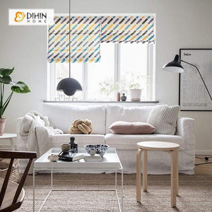 "DIHINHOME Home Textile Roman Blind DIHIN HOME Oblique Lines Printed Roman Shades ,Easy Install Washable Curtains ,Customized Window Curtain Drape, 24""W X 64""H"
