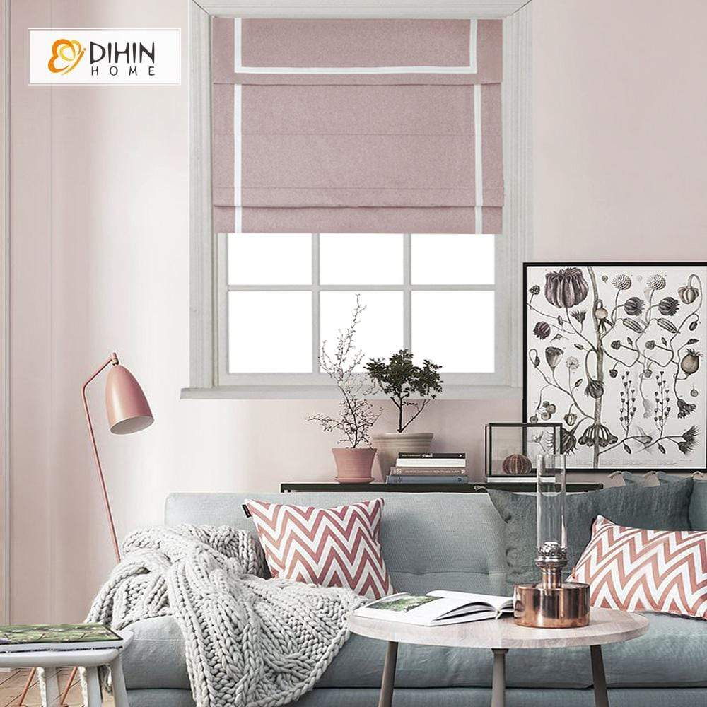 "DIHINHOME Home Textile Roman Blind DIHIN HOME Pink Printed Roman Shades ,Easy Install Washable Curtains ,Customized Window Curtain Drape, 24""W X 64""H"