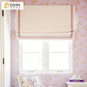 "DIHINHOME Home Textile Roman Blind DIHIN HOME Pink Stripes Edge Printed Roman Shades,Easy Install Washable Curtains ,Customized Window Curtain Drape, 24""W X 64"""