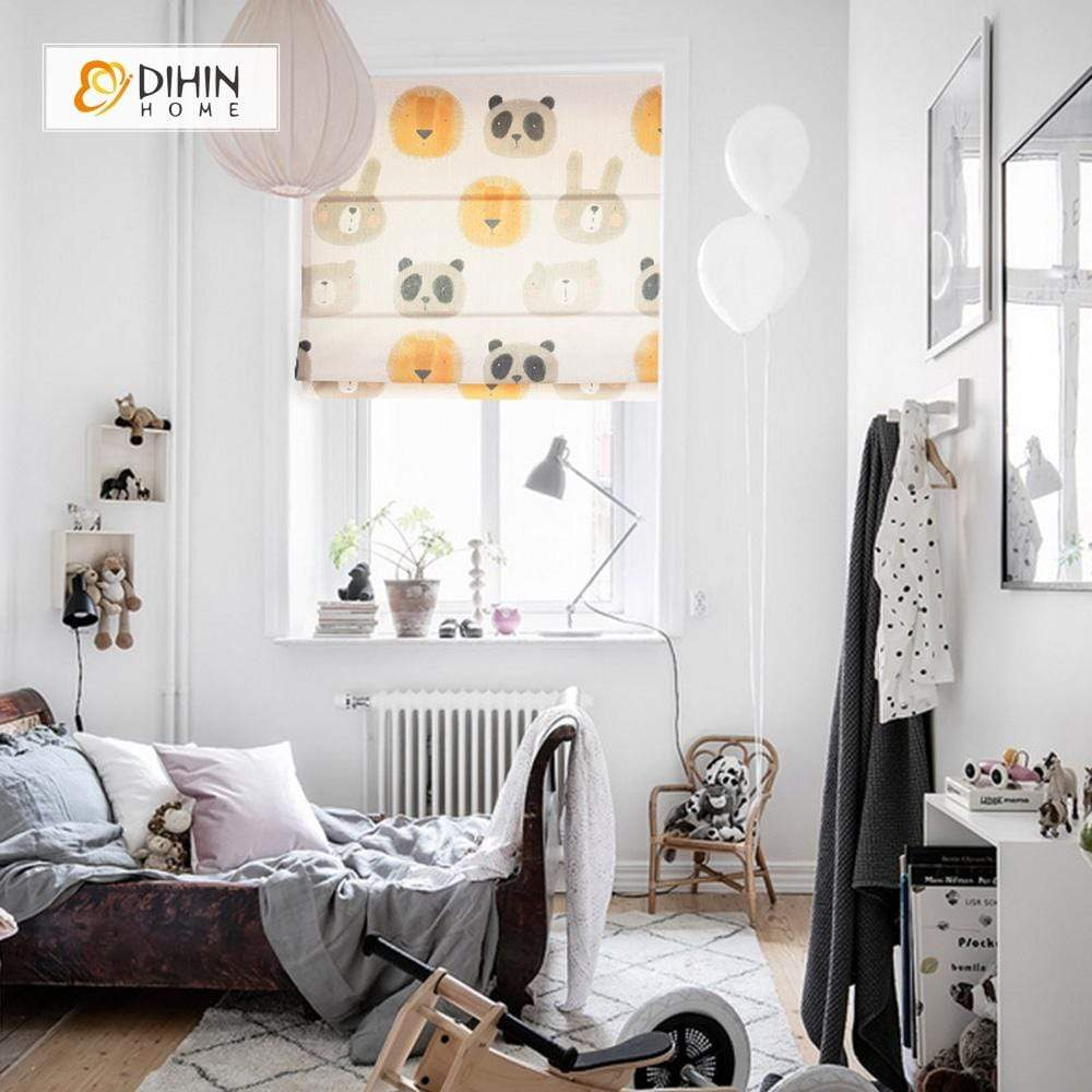 "DIHINHOME Home Textile Roman Blind DIHIN HOME Rabbit and Panda Printed Roman Shades ,Easy Install Washable Curtains ,Customized Window Curtain Drape, 24""W X 64""H"