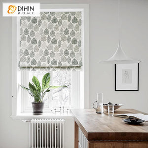 "DIHINHOME Home Textile Roman Blind DIHIN HOME Retro Leaves Printed Roman Shades ,Easy Install Washable Curtains ,Customized Window Curtain Drape, 24""W X 64""H"