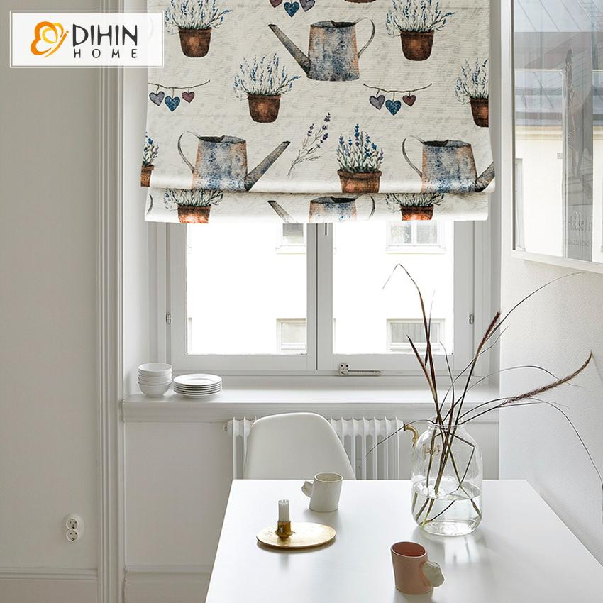 "DIHINHOME Home Textile Roman Blind DIHIN HOME Retro Potted Plants Printed Roman Shades ,Easy Install Washable Curtains ,Customized Window Curtain Drape, 24""W X 64""H"
