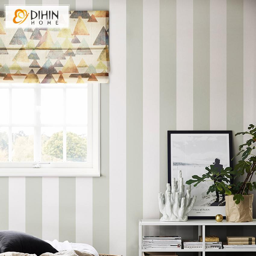 "DIHINHOME Home Textile Roman Blind DIHIN HOME Retro Triangle Printed Roman Shades ,Easy Install Washable Curtains ,Customized Window Curtain Drape, 24""W X 64""H"