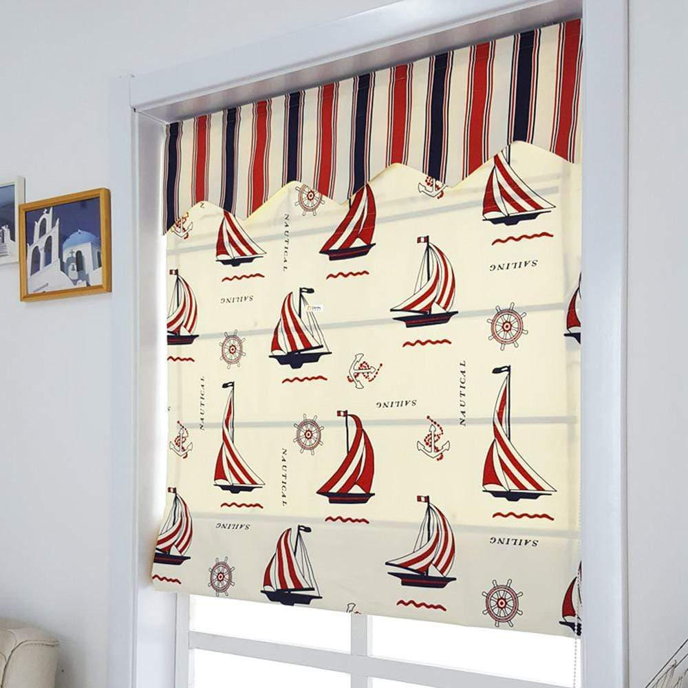 "DIHINHOME Home Textile Roman Blind DIHIN HOME Sailboat Printed Roman Shades ,Easy Install Washable Curtains ,Customized Window Curtain Drape, 24""W X 64""H"