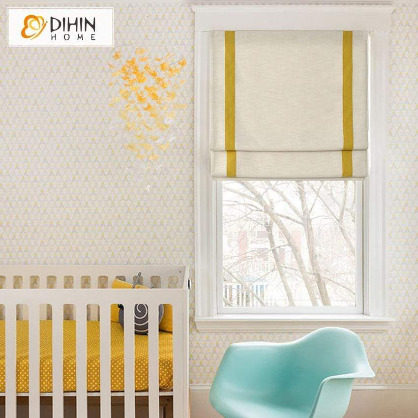 "DIHINHOME Home Textile Roman Blind DIHIN HOME Simple Yellow Stripes Edge Printed Roman Shades ,Easy Install Washable Curtains ,Customized Window Curtain Drape, 24""W X 64"""