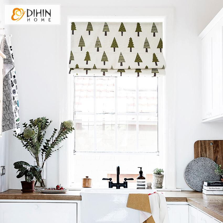 "DIHINHOME Home Textile Roman Blind DIHIN HOME Small Trees Printed Roman Shades ,Easy Install Washable Curtains ,Customized Window Curtain Drape, 24""W X 64""H"