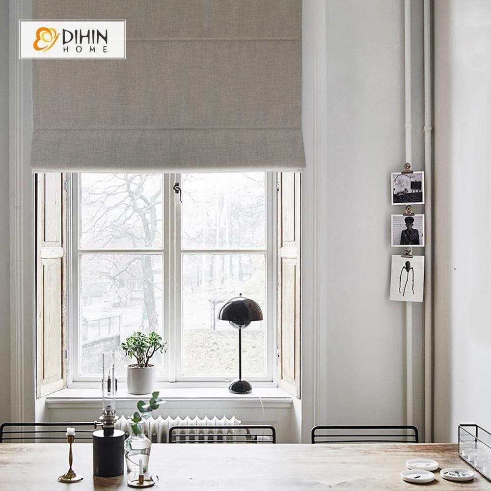 "DIHINHOME Home Textile Roman Blind DIHIN HOME Solid Grey Printed Roman Shades ,Easy Install Washable Curtains ,Customized Window Curtain Drape, 24""W X 64""H"