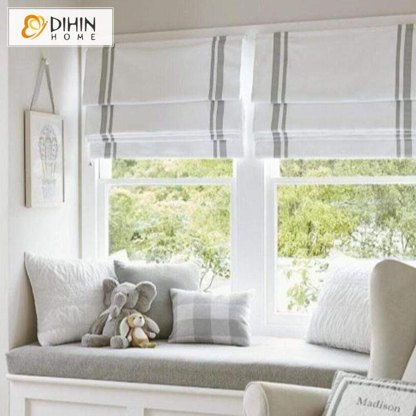 "DIHINHOME Home Textile Roman Blind DIHIN HOME Two Grey Stripes Printed Roman Shades ,Easy Install Washable Curtains ,Customized Window Curtain Drape, 24""W X 64"""