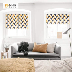 "DIHINHOME Home Textile Roman Blind DIHIN HOME Yellow and Black Triangle Printed Roman Shades ,Easy Install Washable Curtains ,Customized Window Curtain Drape, 24""W X 64""H"