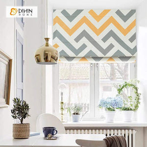 "DIHINHOME Home Textile Roman Blind DIHIN HOME Yellow and Grey Lines Printed Roman Shades ,Easy Install Washable Curtains ,Customized Window Curtain Drape, 24""W X 64""H"