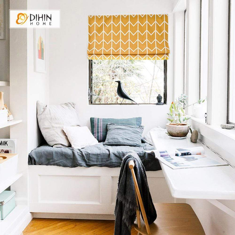 "DIHINHOME Home Textile Roman Blind DIHIN HOME Yellow and White Stripes Printed Roman Shades ,Easy Install Washable Curtains ,Customized Window Curtain Drape, 24""W X 64""H"