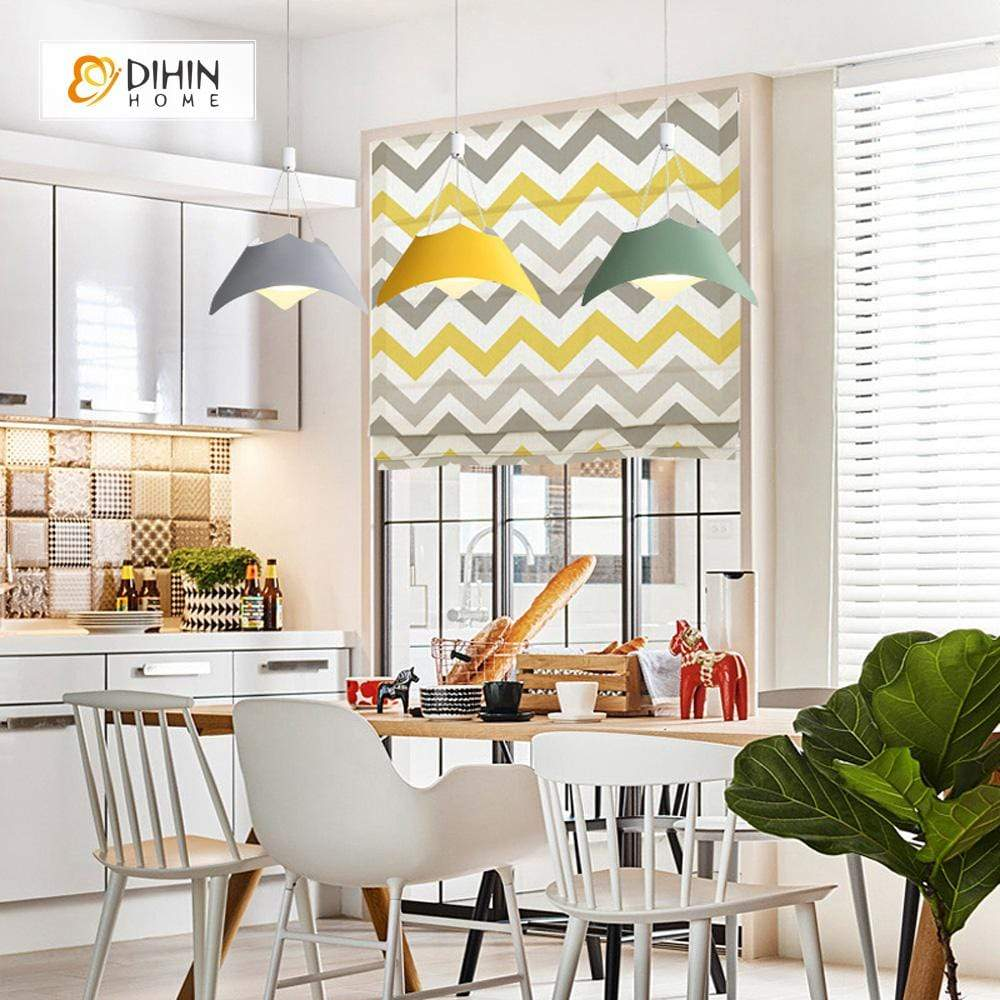 "DIHINHOME Home Textile Roman Blind DIHIN HOME Yellow Stripes Printed Roman Shades ,Easy Install Washable Curtains ,Customized Window Curtain Drape, 24""W X 64""H"