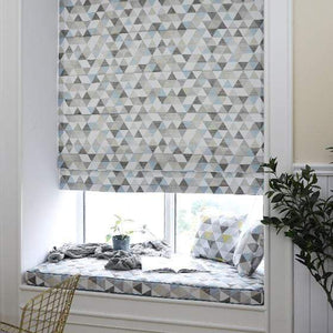 "DIHINHOME Home Textile Roman Blind Fashion Geometric Printed Roman Shades / Window Blind Fabric Curtain Drape, 23""W X 64""H"