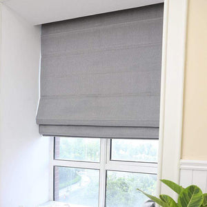 "DIHINHOME Home Textile Roman Blind Modern Solid Grey Roman Shades / Window Blind Fabric Curtain Drape, 23""W X 64""H"