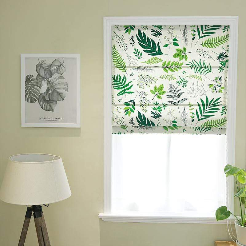 "DIHINHOME Home Textile Roman Blind Pastoral Green Leave Printed Roman Shades / Window Blind Fabric Curtain Drape , 23""W X 64""H"