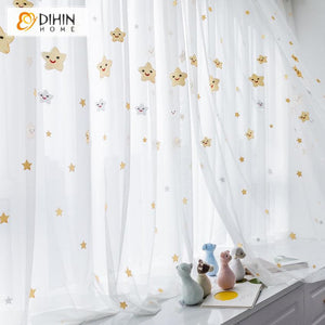 DIHINHOME Home Textile Sheer Curtain Copy of DIHIN HOME  Cotton Linen Green Flowers ,Sheer Curtain, Grommet Window Curtain for Living Room ,52x63-inch,1 Panel