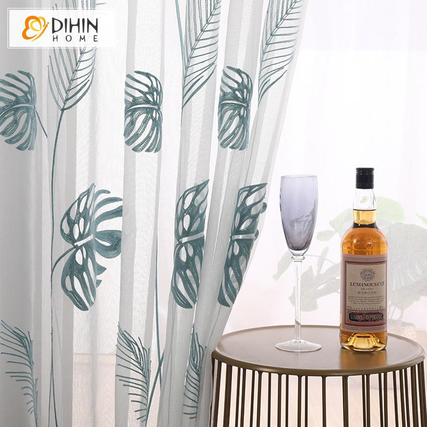DIHINHOME Home Textile Sheer Curtain Copy of DIHIN HOME Modern Blue and Grey Triangle Geometric,Sheer Curtain,Grommet Window Curtain for Living Room ,52x63-inch,1 Panel